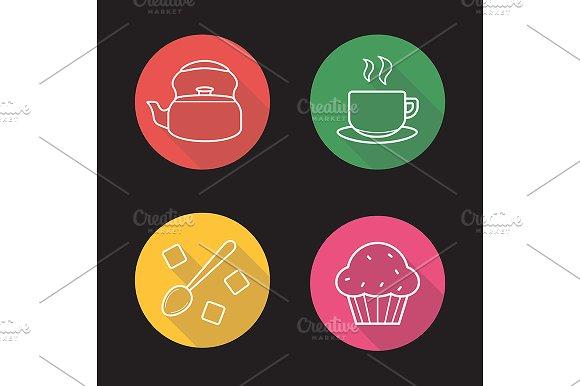 Tea. 4 icons. Vector - Icons