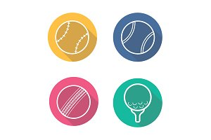 Sport game balls. 4 icons. Vector
