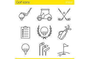 Golf equipment. 9 icons. Vector