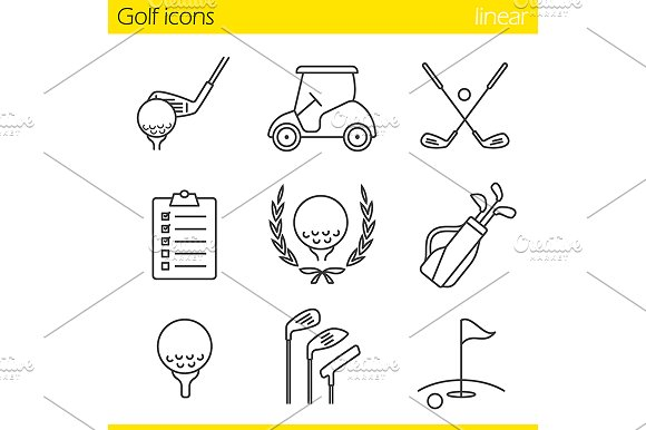 Golf equipment. 9 icons. Vector - Icons