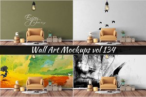 Wall Mockup - Sticker Mockup Vol 134