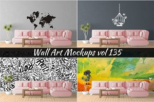Wall Mockup - Sticker Mockup Vol 135