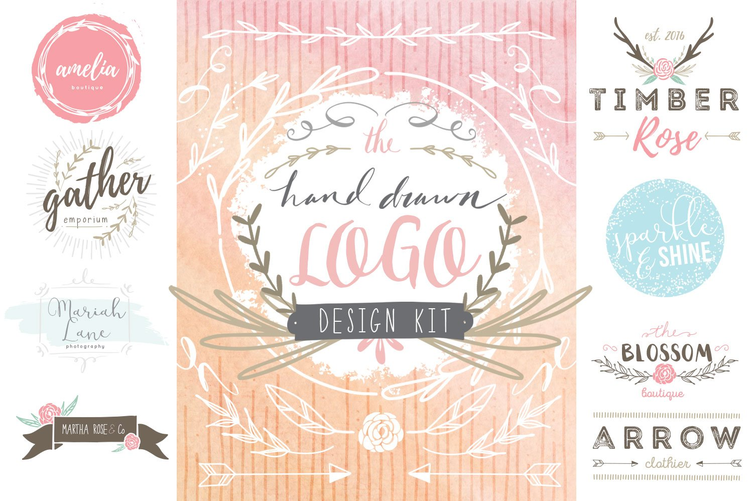 Hand Drawn Logo Design Kit Logo Templates Creative Market