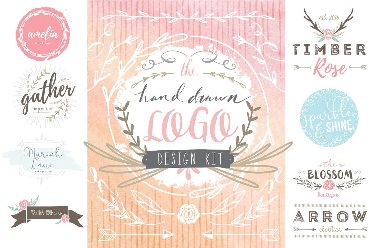 Hand Drawn Logo Design Kit Logo Templates Creative Market