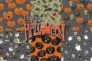 Halloween seamless pattern set