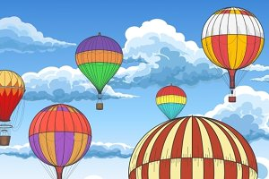 Vintage hot air balloons pattern