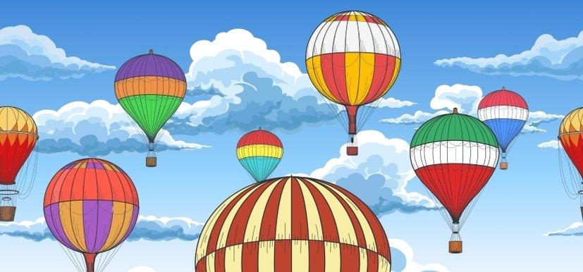 Vintage hot air balloons pattern ~ Graphics ~ Creative Market