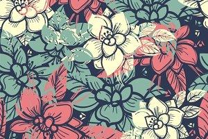 Boho floral seamless pattern