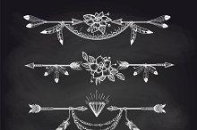 Chalk boho style arrow dividers