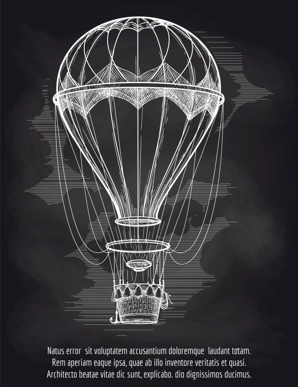 Sketch Hot Air Balloon On Blackboard