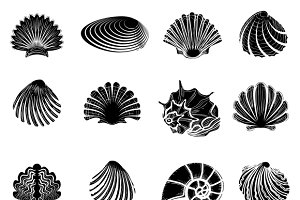 Black sea shells silhouettes