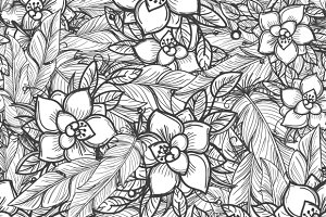 Flowers and feathers pattern