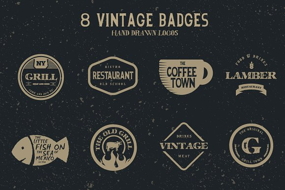 Vintage hand drawn logos v2 logo templates creative market