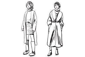 Sketch of woman wearing coat