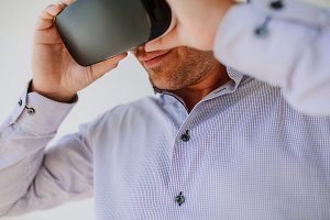 Young man using Virtual Reality