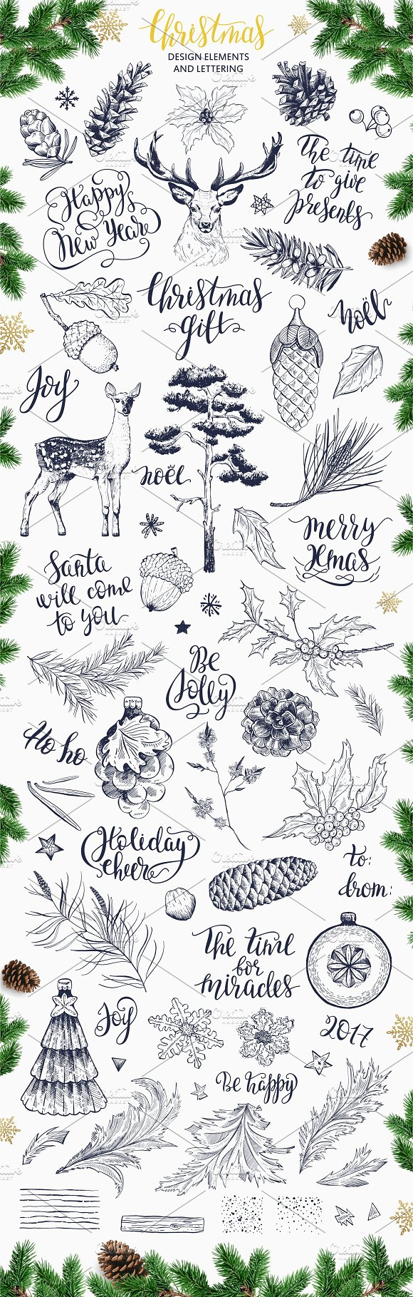 Christmas t Lettering & drawings Illustrations Creative Market