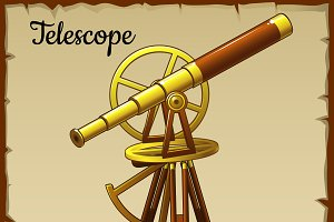 Old golden telescope pointing up