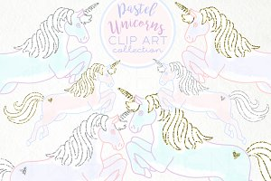 Pastel Unicorns Clip Art