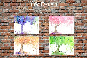 Watercolor Tree Canopy