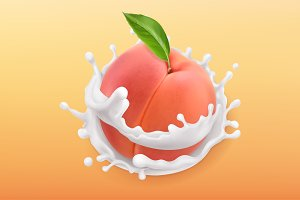 Peach and milk splash. 3d vector