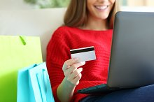 Girl buying online with credit card