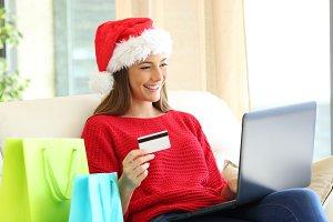 Girl buying online