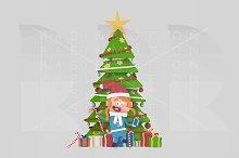 3d illustration. Girl  Xmas Tree