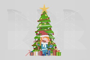 3d illustration. Girl  Xmas Tree