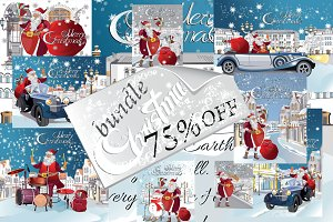 Set of Christmas cards with Santa.