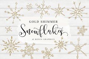 Gold Shimmer Snowflakes + BONUS