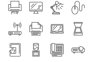 Office devices icons set