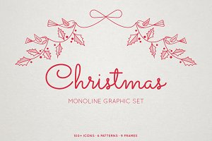 Monoline Christmas Graphic Set