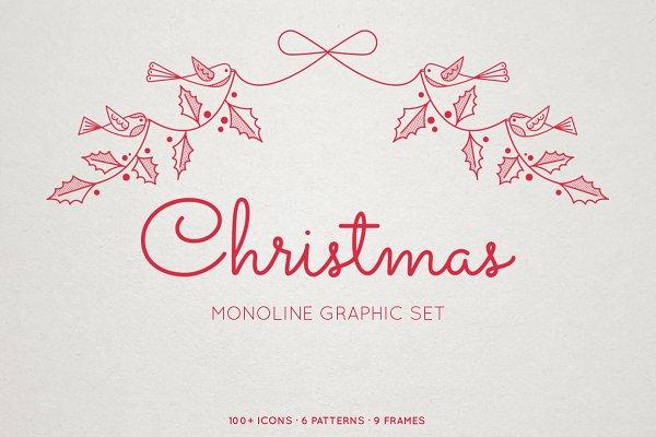 Monoline Christmas Graphic Set