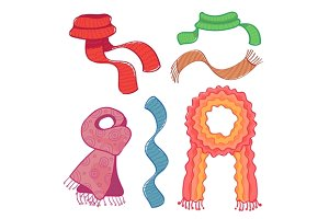 Coloured winter scarves
