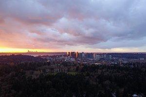 Bellevue City Skyline Golden Hour