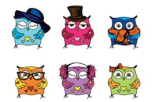 Set - Six different cute owls