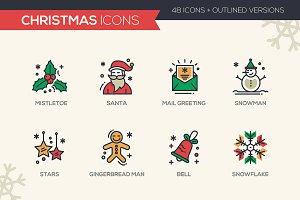 48 Christmas & New Year Icons Bundle