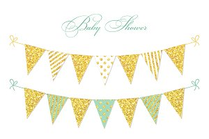Golden glitter bunting flags