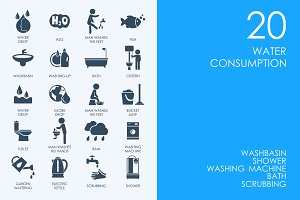 Water consumption icons