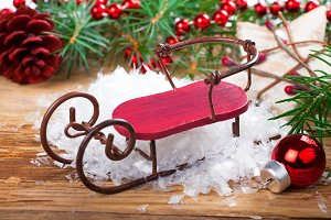 Christmas composition with sleigh
