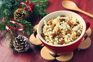 Pot with kutia. Traditional Christmas sweet meal