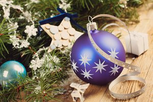 Christmas composition with blue christmas ball