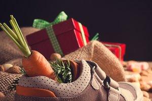 Childrens shoe and pepernoten for Sinterklaas