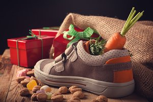 Childrens shoe and pepernoten for Sinterklaas