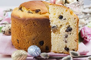 Easter bread and colorful eggs