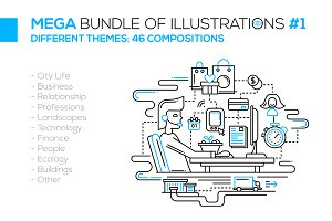 Mega Bundle of Line Illustrations