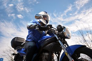 biker with helmet blue