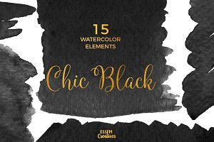 Black Watercolor Splash Clipart
