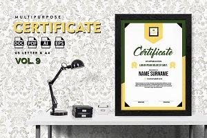 Best Multipurpose Certificate Vol 9