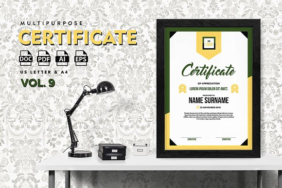 Best Multipurpose Certificate Vol 9